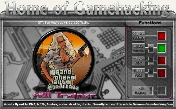 Grand Theft Auto: San Andreas трейнер +20 v1.01 HoG - скачать читы, скачать трейнер.